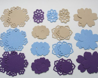 Flower die cut set, Blue flowers, Purple flowers, Tan flowers, Cardstock flowers, Paper flowers