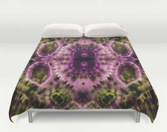 Double Vision Duvet Cover  Tie Dye Abstract Art Purple Pink Green Double/Full/Queen/King Bedding Bedroom Bed Home Decor Home and Living