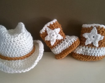 Crochet Cowboy Set, Crochet Cowboy hat, Crochet Cowboy Boots, Baby shower gift, Photo session, Babies Set, Made to order