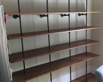 The Hemingway Wall Mount Bookcase Reclaimed Wood Bookshelf Pipe Wall Bookshelf  Pipe Shelf