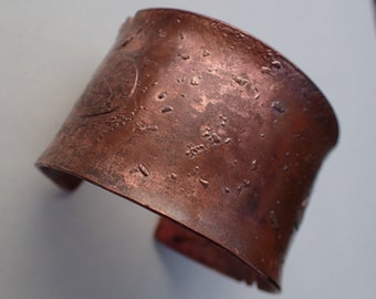 Acid etched copper cuff with triangle detail