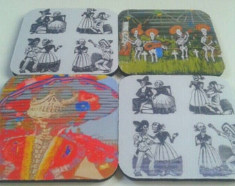 Set Of Four Rubber Day Of The Dead Coasters, Day Of The Dead, Drink Coasters, Mexican,  Made By Mod.