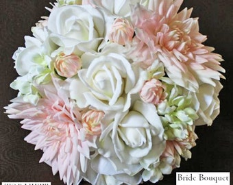 Pale pink, white, mint green, Bouquet, Real Touch flowers, silk wedding flowers, rose, dahlia, stephanotis