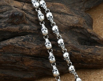 """Sterling Silver Skull Chain, 925 Silver Skull Chain Necklace, Skull Head Chain Necklace 14 16 18 20 22 24 26 28 30 32 34 36"""" Inches"""