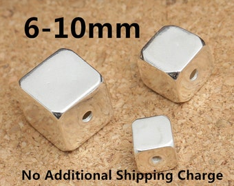 Sterling Silver Cube Beads, Sterling Cube Beads, 925 Silver Cube Beads, Sterling Square Beads, Sterling Silver Beads 6mm 8mm 10mm