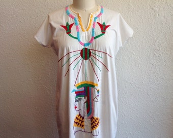 1970s Embroidered Egyptian cotton caftan