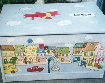town toy box, storage, boys hand painted toy box, children's toy box