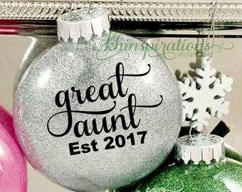 Great Aunt, Great Aunt Gifts, Great Aunt Glitter Ornaments, Christmas Ornaments, Est 2016, 2017, Aunt Ornament, Preganacy Reveal