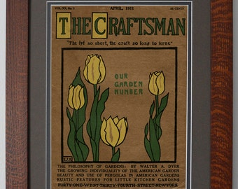 The Craftsman Tulips Mission Style Art in Quartersawn Oak Frame