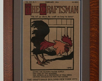 The Craftsman Rooster Mission Style Art in Quartersawn Oak Frame