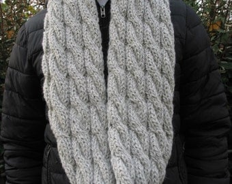 scarf tube or large snood double knitted pure wool