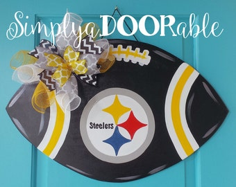 This Pittsburgh Steelers Football is Simply aDOORable.  Perfect for football season, tailgate parties & Steelers fans everywhere!