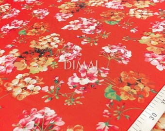 Red floral chiffon fabric by the yard #5732