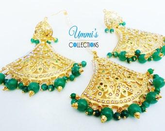 Golden Polish Green Jadau Earrings Maang Tikka Jewelry set