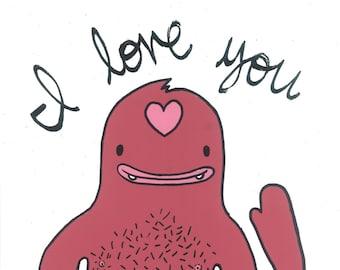 I love you, monster, pink