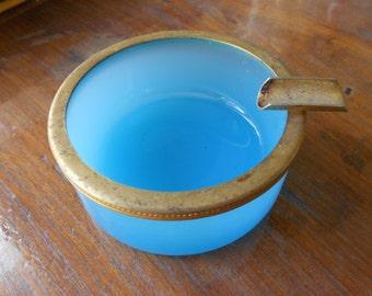 Blue opaline art glass/Opaline ashtray/Opaline glass ashtray