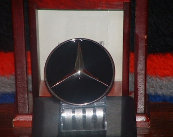 Black & Silver Mercedes Symbol Pewter Finish Belt Buckle