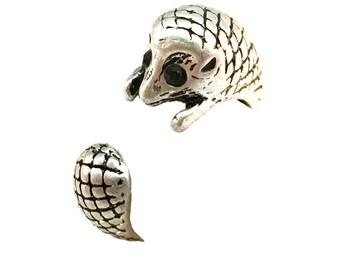 Hedgehog Ring- Antiqued Silver Toned - Adjustable