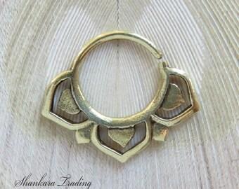 Septum Ring for Pierced Nose, Lotus Septum Ring, Septums, Tribal Septum Ring, Indian Nose Ring, Nose Jewelry, Ethnic Septum Ring