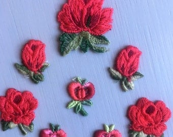 Set of 9 Vintage Flowers Appliques