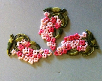 Vintage Pink and White Embroidered Applique - Set of 3
