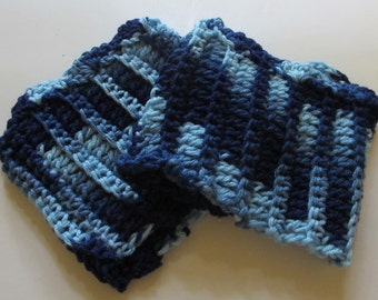 Crochet Boot Cuffs With Scallops in Multiple Blues Ready to Ship