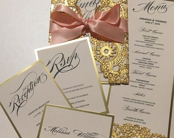 Gold and Peach Invitation Card & RSVP