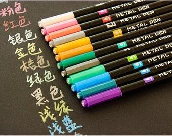 Metallic Pen (12 Colors Lot) Paint Marker For card Design Watercolor Marker Scrapbooking Decoration TZ635