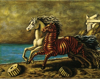 Cavallo e zebra by Giorgio de Chirico Home Decor Wall Decor Giclee Art Print Poster A4 A3 A2 Large Print FLAT RATE SHIPPING