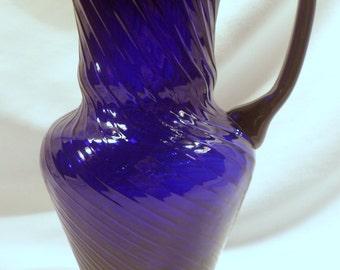 """Hand-Made Cobalt Blue Swirl Glass Pitcher, 11 1/4"""" Height"""