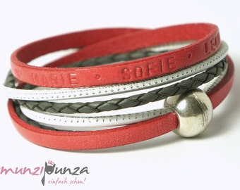 Name bracelet leather article 150 magnetic closure