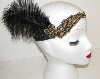 Black & Gold Ostrich Feather 1920s Flapper Headpiece Headband Great Gatsby L15