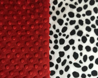 Dalmatian Dots Black White Red Blanket Paci Infant Stroller Toddler Teen Adult Made to Order