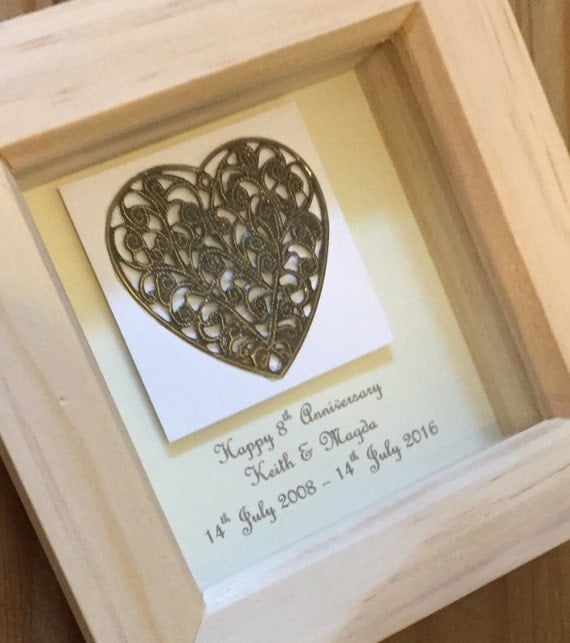Eighth Wedding Anniversary Traditional Gift: 8th Bronze Wedding Anniversary Gift Framed 8th Anniversary