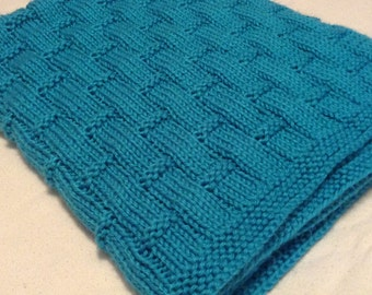 Hand knit mint blue baby blanket/easy to wash and dry hand knitted blue baby blanket/car seat blanket/stroller blanket/crib blanket