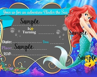 Little Mermaid Fill-In printable invitation