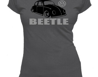 Classic VW Beetle. Text. Ladies fitted t-shirt.