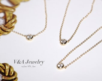 Classic Single Real Diamond Necklace--effortless chic--18K Gold