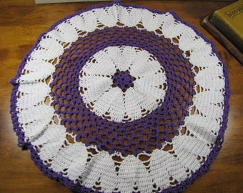 Crocheted Doily - Purple and White