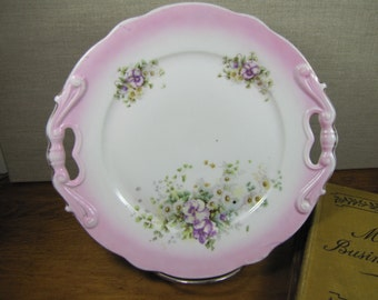 Vintage Decorative Plate - Pink Rim - Purple and White Flowers - Two Handled