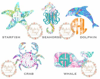 Lilly Pulitzer Inspired Sea Animal Monogram Decal