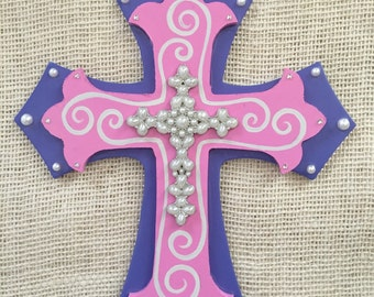 Baby room decor - pink and periwinkle cross - pink and purple decor - baby girl room decor - decorative cross - hand painted wooden cross