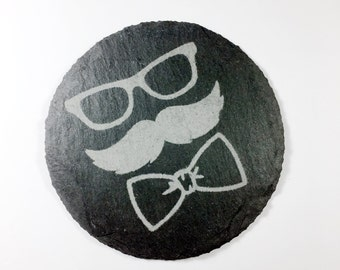 Gifts For Him Drink Coasters, For Him Gifts Slate Coasters, Mustache Coasters, Slate Man Coasters, Beer Coasters, Natural Stone Coasters