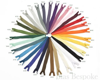 Sets of 12 Invisible Zippers in 5 Lengths and 32 Colors, Bias Bespoke Brand