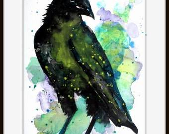 ORIGINAL Watercolor Painting, crow lover art, Crow wall art, raven