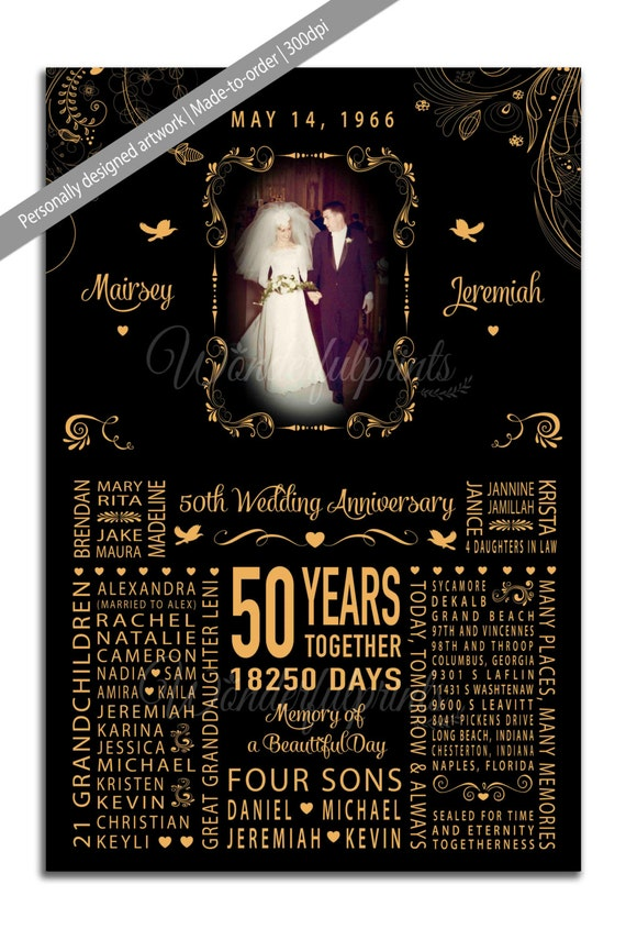 50th Wedding Anniversary Gifts For Mom And Dad : 50th Wedding Anniversary Gift for Mom and Dad, Parents, Grandparents ...