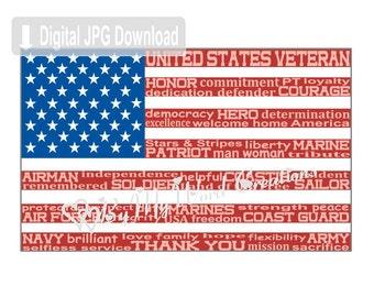 American Flag Art, Flag Word Art, Veteran Art, Armed Forces Art, Veteran Keepsake, Personalized Word Art Typography, PRINTABLE DIGITAL FILE