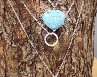 Layered Turquoise Heart Necklace