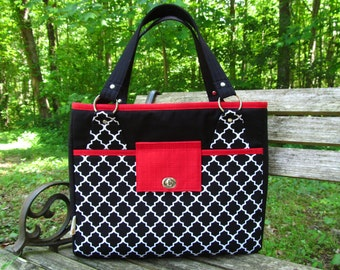 """READY to SHIP*** """"The Stow It All Tote"""" Tote Bag/Large Purse/Work Bag/Diaper Bag/Baby Bag-Black and White with Red Accents"""
