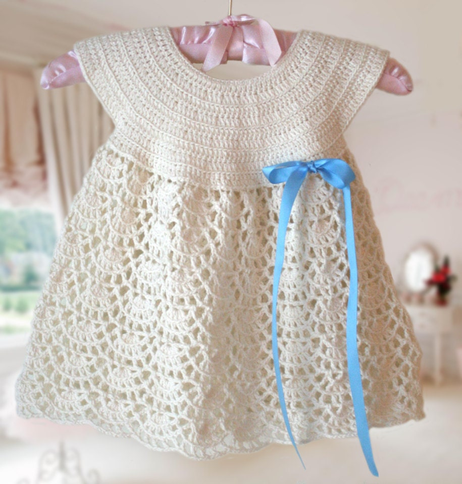 White Baby Dress Baby Dress round neck Crochet Pattern